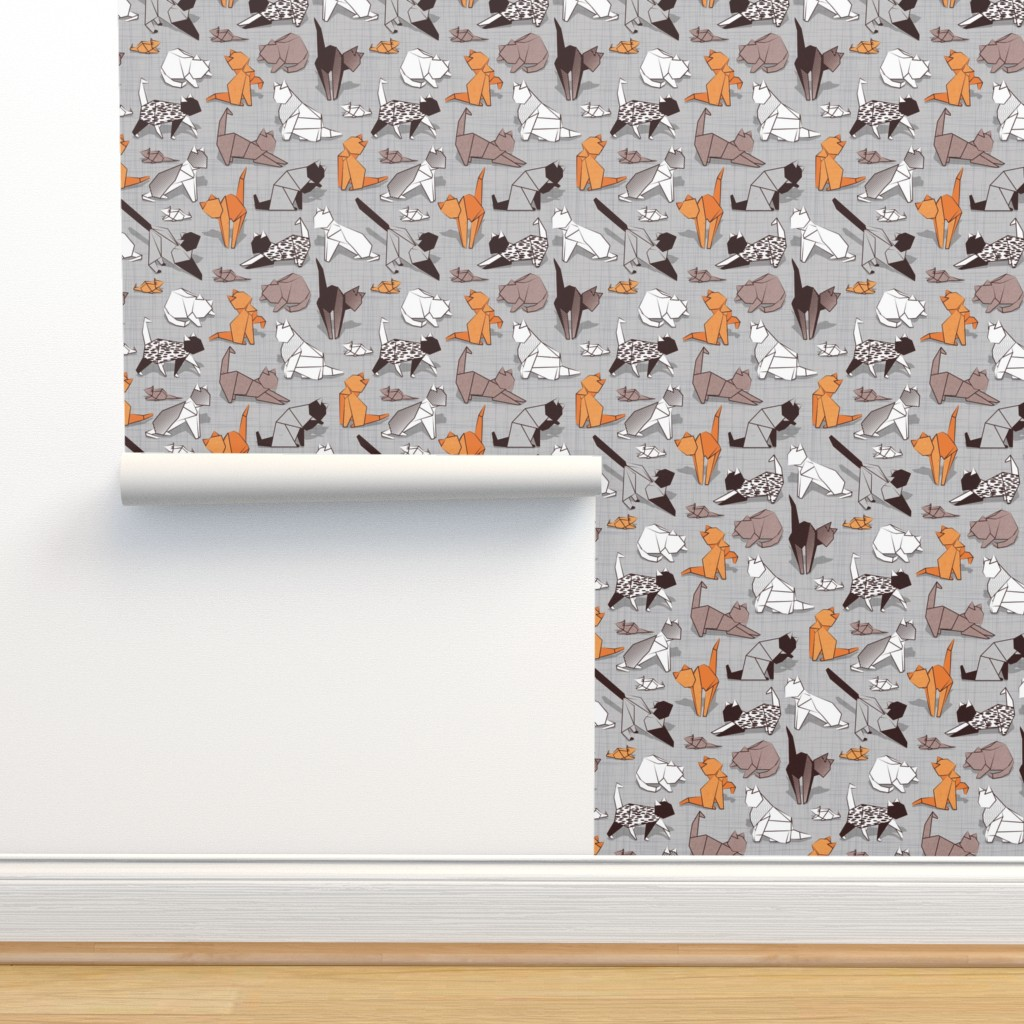 Isobar Durable Wallpaper featuring Small scale // Origami kitten friends // grey linen texture background paper cats by selmacardoso