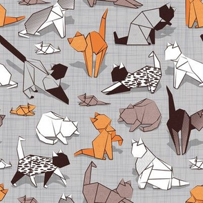 Small scale // Origami kitten friends // grey linen texture background paper cats
