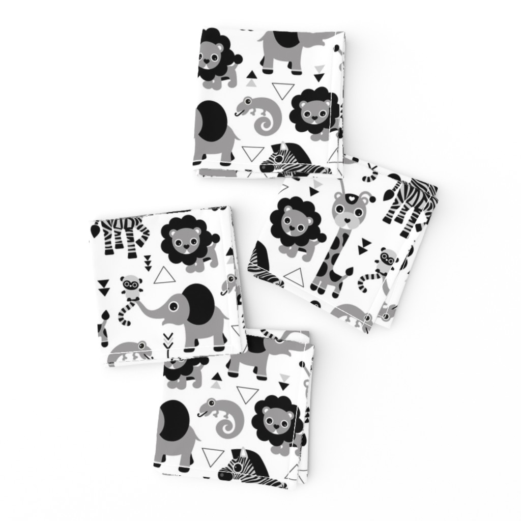 Frizzle Cocktail Napkins featuring Geometric jungle zoo safari animals adorable kids design for boys black white gray by littlesmilemakers