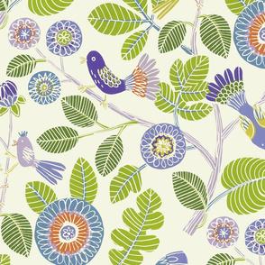 Summer birds (lime/purple/tourquoise)