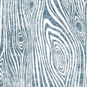 Woodgrain indigo - driftwood dark indigo blue