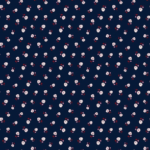 Orchid and burgundy red flowers on navy blue