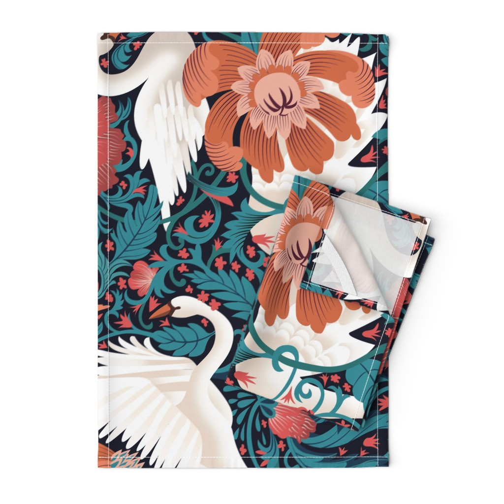 Orpington Tea Towels featuring Swan Menagerie by ay_laurita
