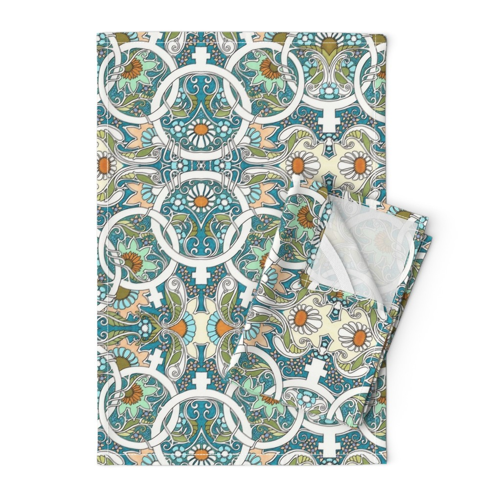 Orpington Tea Towels featuring Flower Power Womanhood by edsel2084