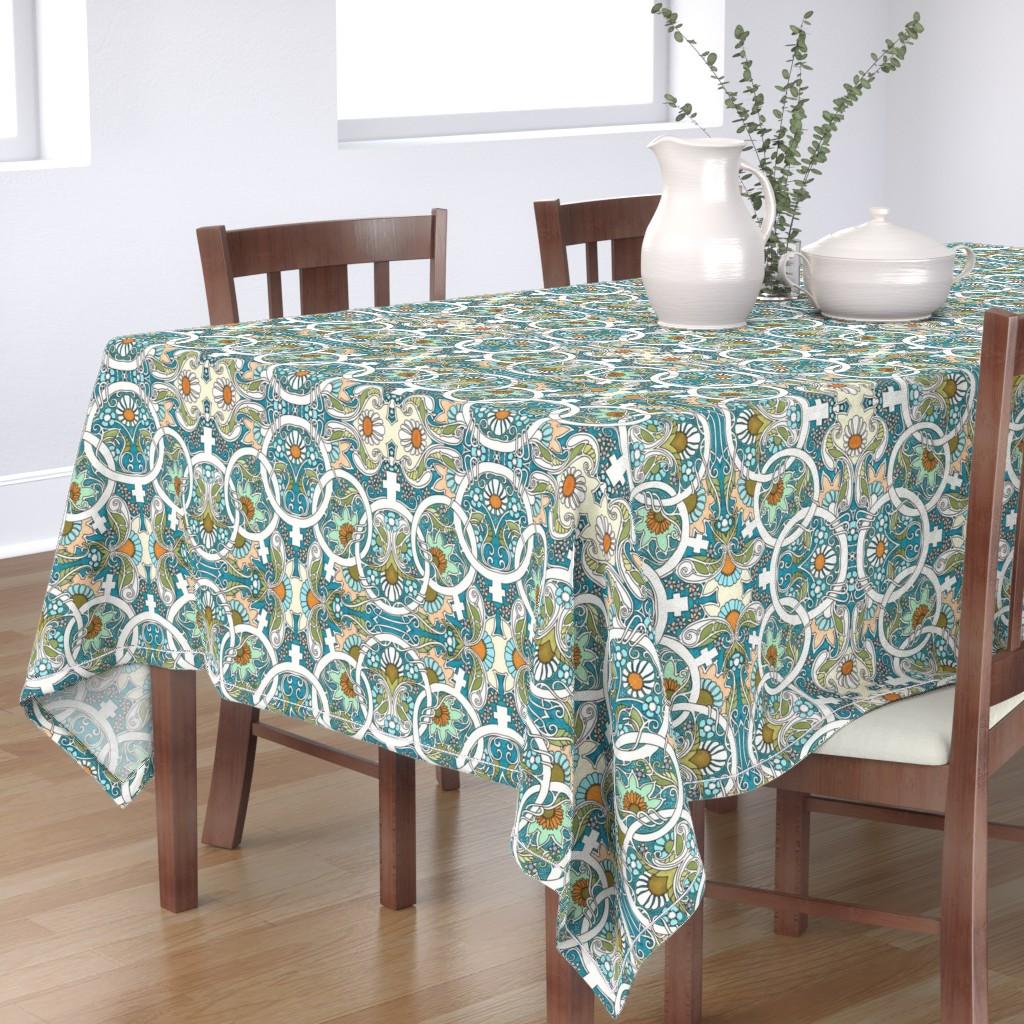 Bantam Rectangular Tablecloth featuring Flower Power Womanhood by edsel2084