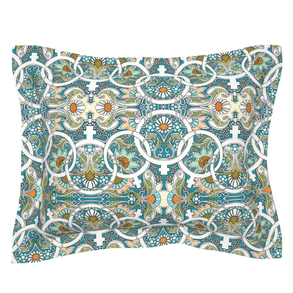 Sebright Pillow Sham featuring Flower Power Womanhood by edsel2084