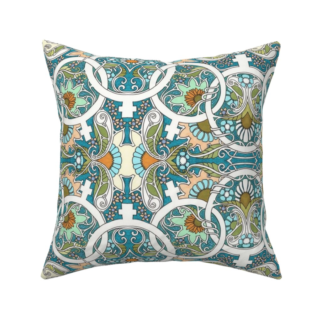 Catalan Throw Pillow featuring Flower Power Womanhood by edsel2084
