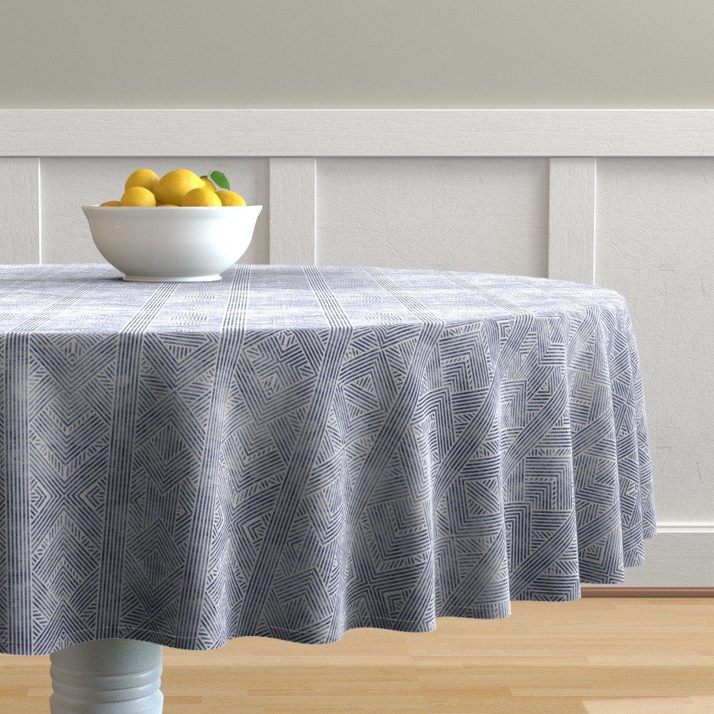 Malay Round Tablecloth featuring AMAI GEO DENIM by holli_zollinger