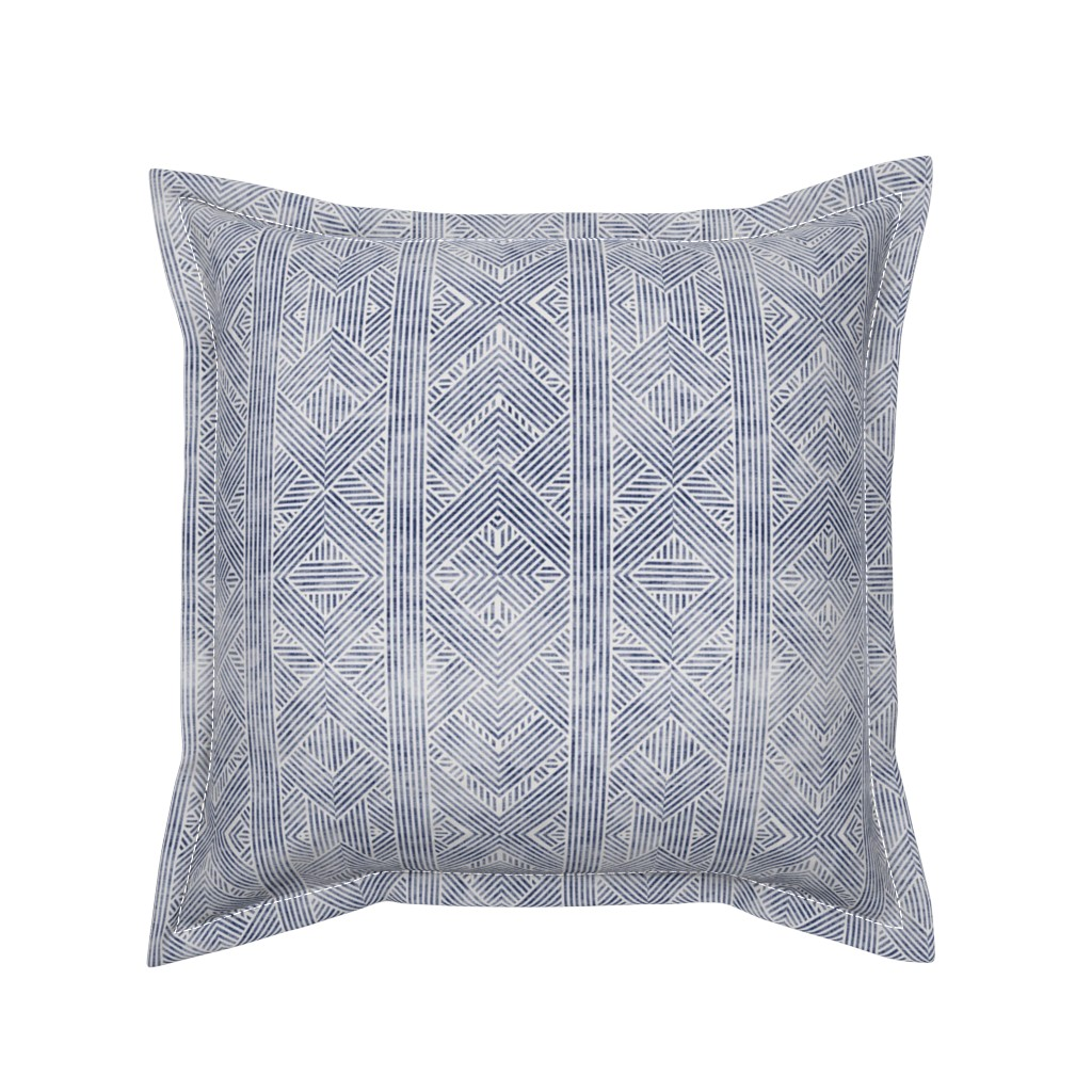 Serama Throw Pillow featuring AMAI GEO DENIM by holli_zollinger