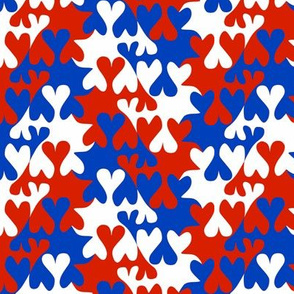 Red White and Blue Tessellating Hearts