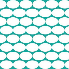 Oblong Polka dot in Teal and White