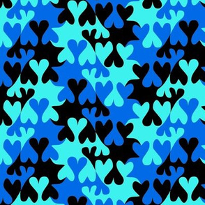 Black and Blue Tessellating Hearts