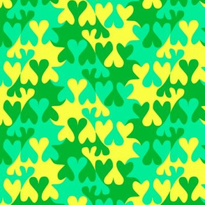 Turquoise Lemon and Shamrock Green Tessellating Hearts