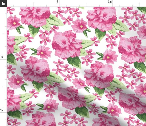 Pink White Hibiscus Rose Large Spoonflower