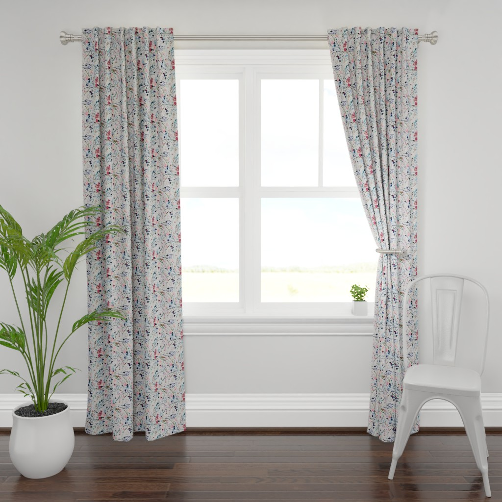Plymouth Curtain Panel featuring Fable floral (MED) (grey) by nouveau_bohemian