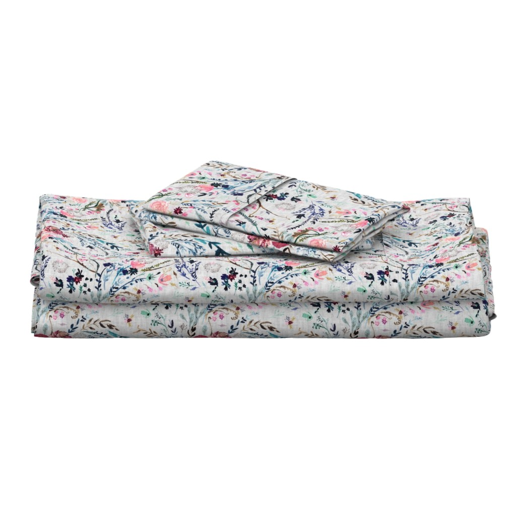 Langshan Full Bed Set featuring Fable floral (MED) (grey) by nouveau_bohemian
