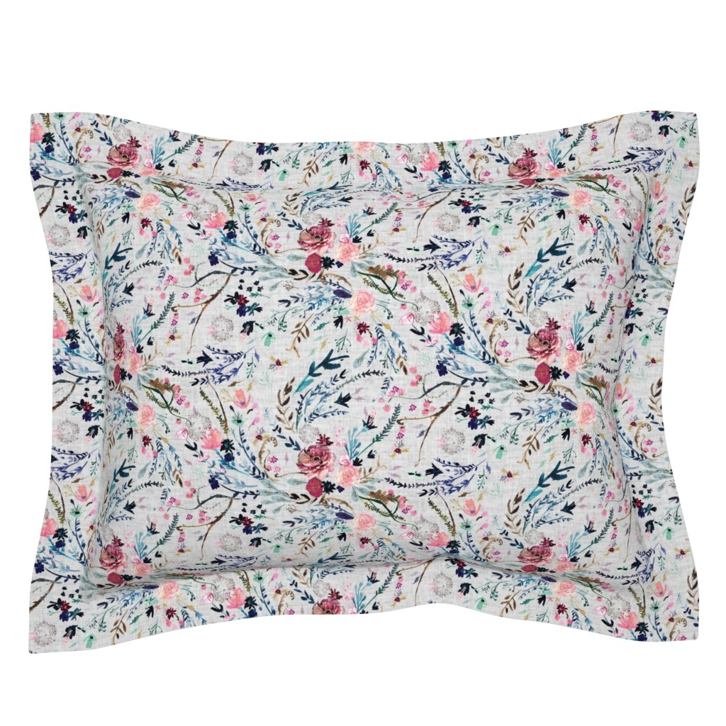 Sebright Pillow Sham featuring Fable floral (MED) (grey) by nouveau_bohemian