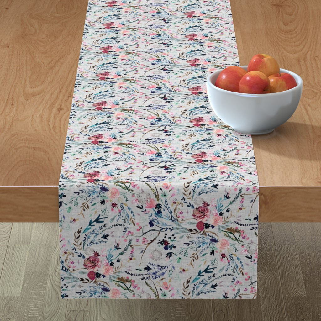 Minorca Table Runner featuring Fable floral (MED) (grey) by nouveau_bohemian