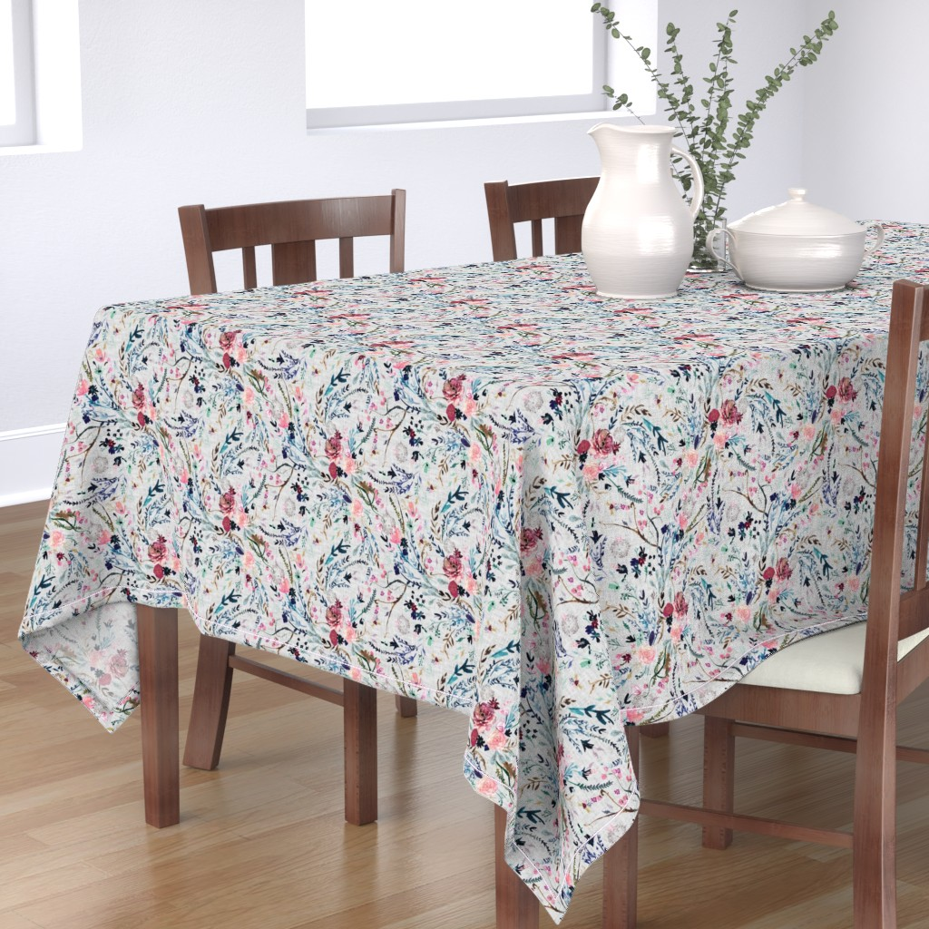 Bantam Rectangular Tablecloth featuring Fable floral (MED) (grey) by nouveau_bohemian
