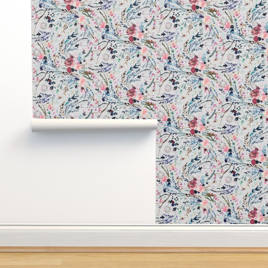 Isobar Durable Wallpaper featuring Fable floral (MED) (grey) by nouveau_bohemian