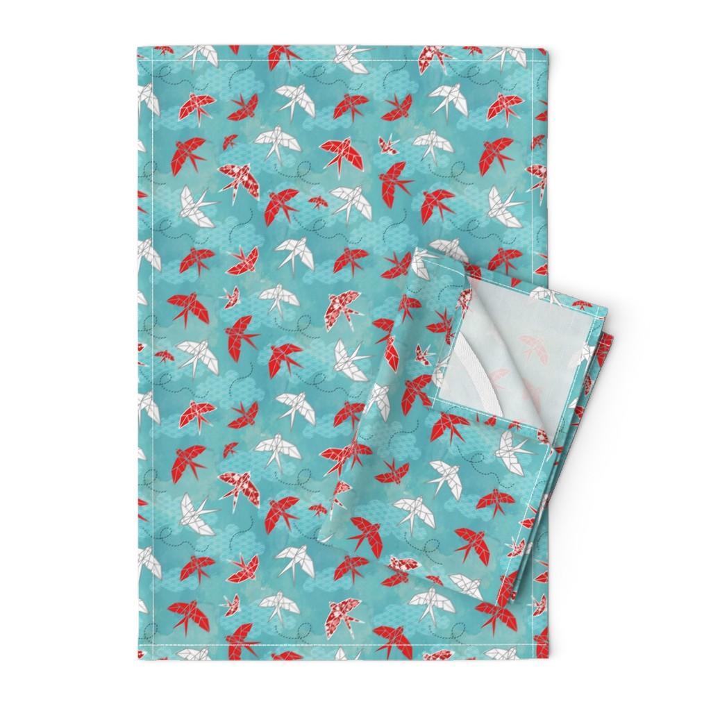Orpington Tea Towels featuring Origami Swallows Small by adenaj