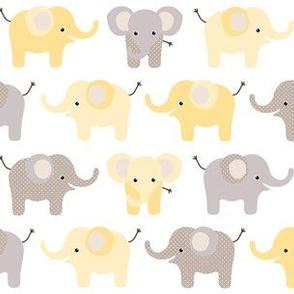 Happy elephants yellow
