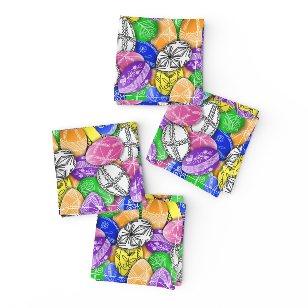Frizzle Cocktail Napkins featuring polish easter eggs pattern small pisanki by b0rwear