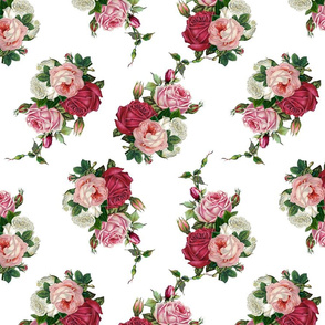 Pink Rose Bouquet - White Background