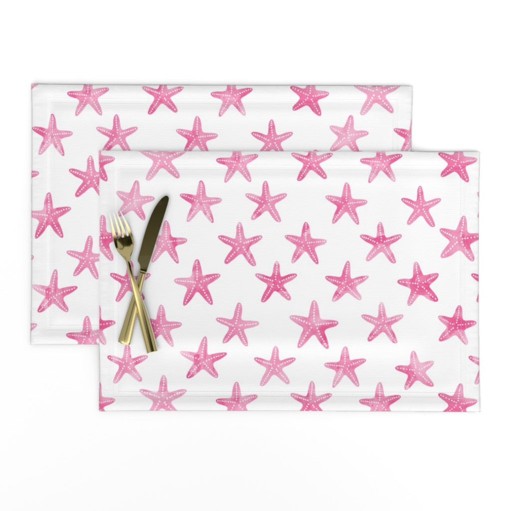 Lamona Cloth Placemats featuring starfish - pink by littlearrowdesign
