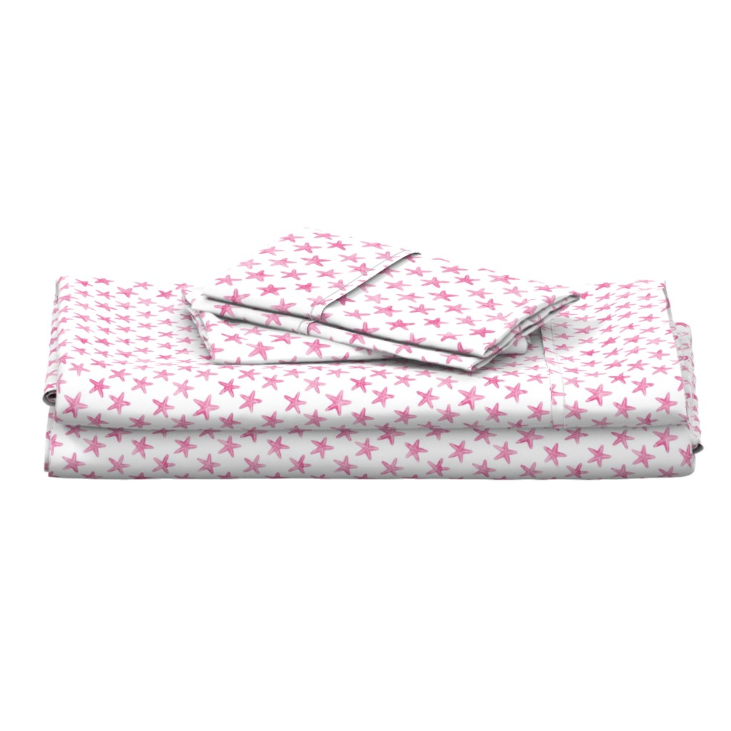 Langshan Full Bed Set featuring (small scale) starfish - pink by littlearrowdesign
