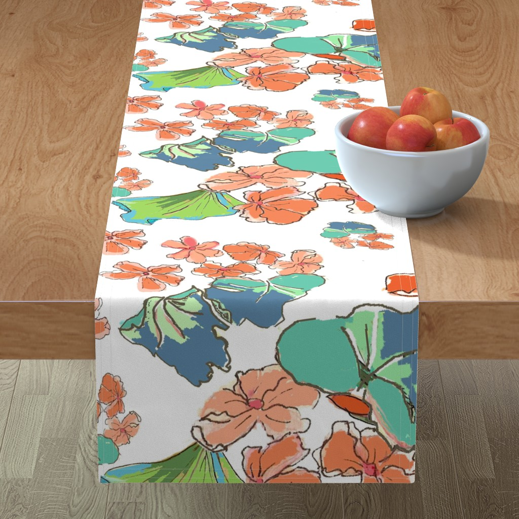 Minorca Table Runner featuring Watercolored Geranium Glory by lorloves_design