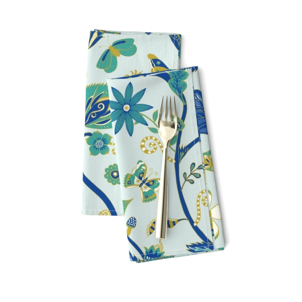 Amarela Dinner Napkins featuring Fantasy Indian Floral - Emerald and sapphire on sky - Large scale by cecca