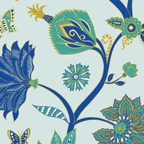Fantasy Indian Floral - Emerald and sapphire on sky - Large scale