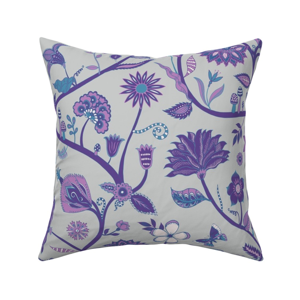 Catalan Throw Pillow featuring Fantasy Indian Floral - Violet and blue on Silver by cecca
