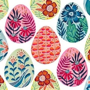 Large Scale Watercolor and Gouache Easter Eggs