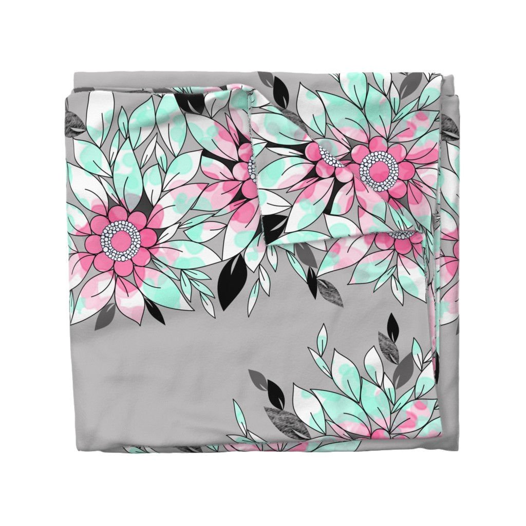 Wyandotte Duvet Cover featuring Large Flower Border in Pink, Mint and Gray for Summer  by amborela