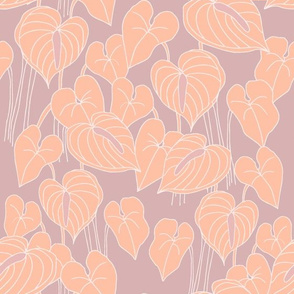 sketchy anthuriums on lilac