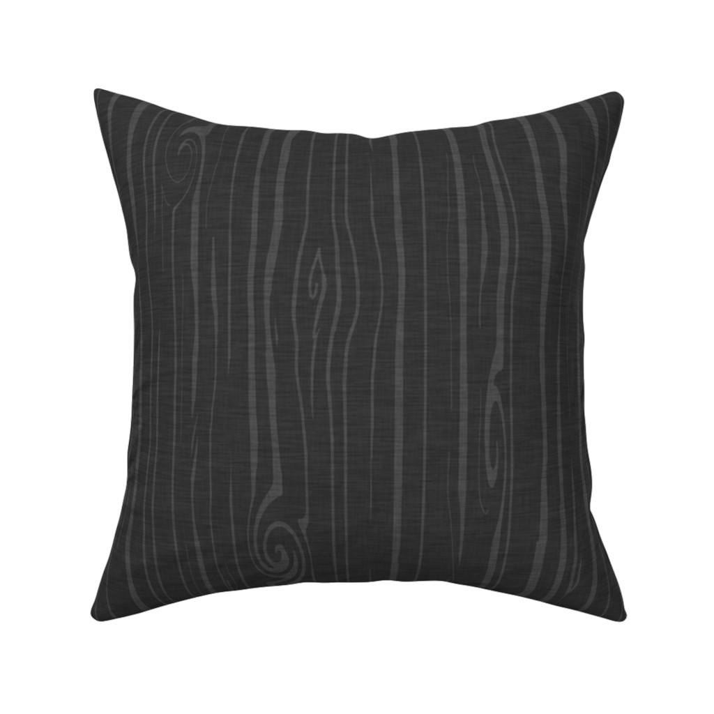 Catalan Throw Pillow featuring Weathered woodgrain - charcoal by sugarpinedesign