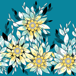 Large Flower Border  in Blue and Yellow
