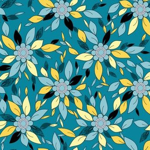 Blue and Yellow Flowers and Leaves Floral Print