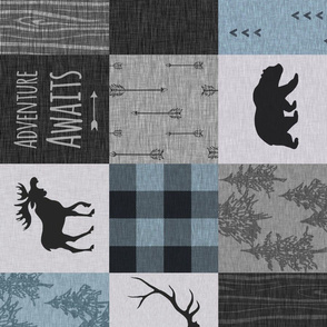 Adventure Awaits Quilt- Blue, Black And Grey - ROTATED