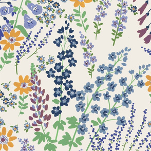 Flower garden (Blues and yellow)