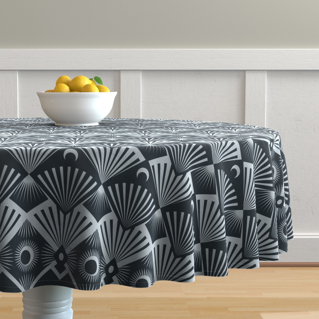 Malay Round Tablecloth featuring  Moonrise by seesawboomerang