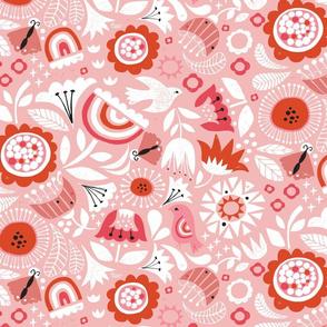 Linocut Vintage Floral Pink
