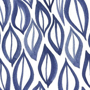 Hand drawn watercolor ikat - indigo leaves