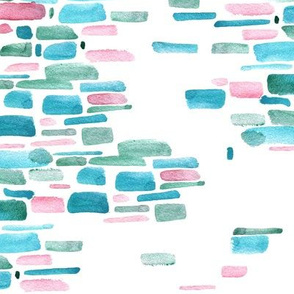 Mosaic watercolor brushstrokes - teal and salmon