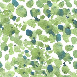 Watercolor spots painterly abstract - green and blue