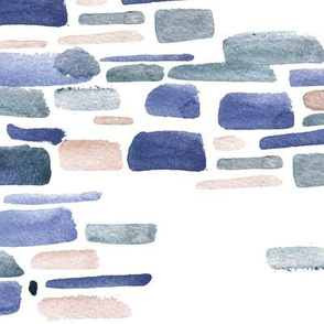 Mosaic watercolor brushstrokes - indigo and ochre