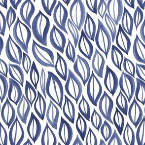 Hand drawn watercolor ikat - blue and white