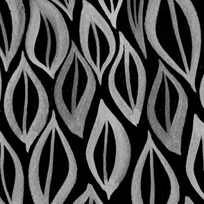 Hand drawn watercolor ikat - black and white